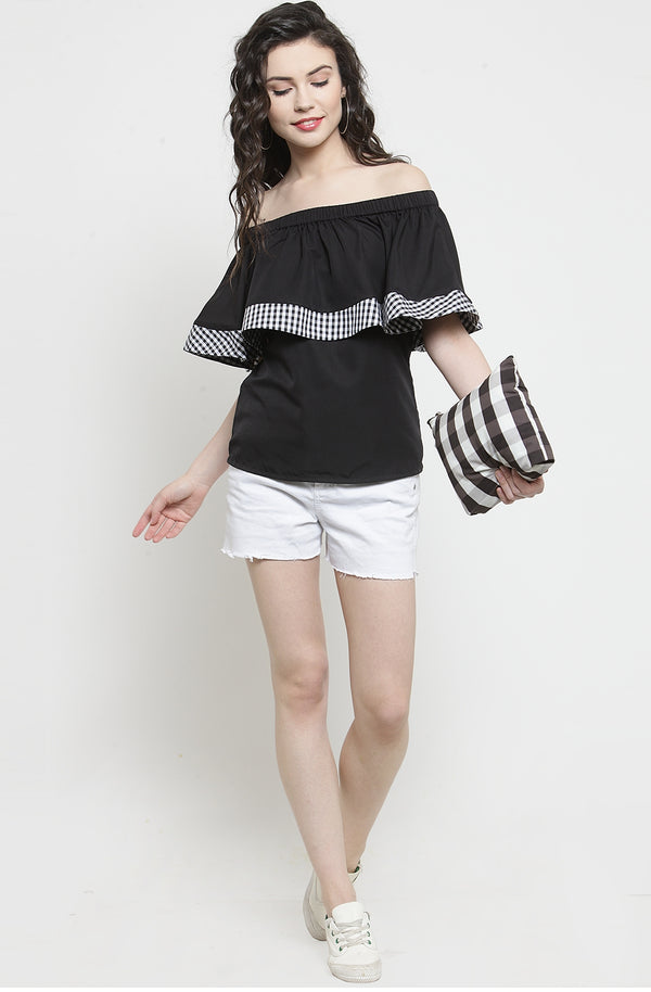 Contrast Ruffle Off-Shoulder Top by Afamado