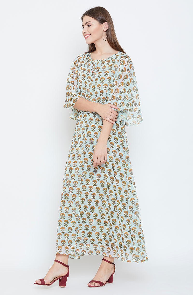 Light Green Block Print Motif Dress