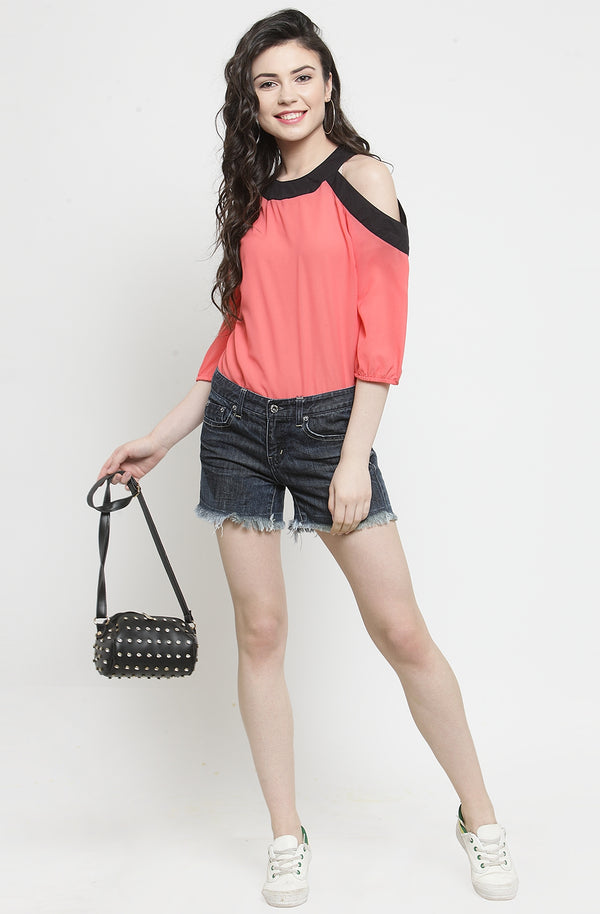 Pink Georgette Top by Afamado
