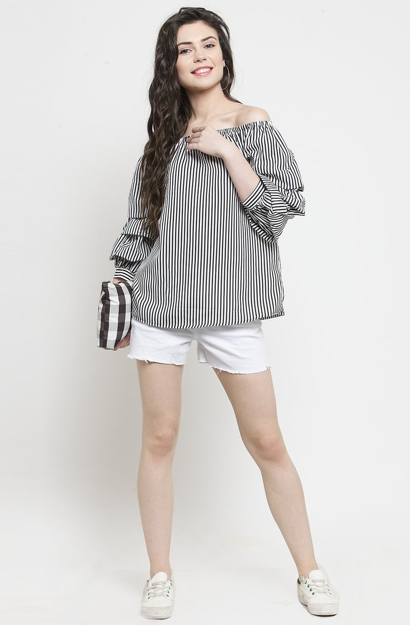 Striped Ruffled Sleeve Top by Afamado