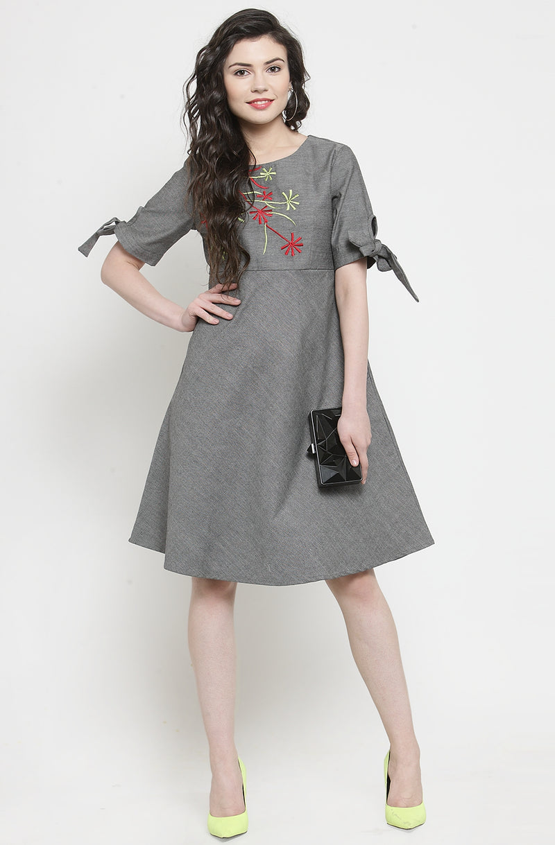 Embroidered Grey Chambray Dress by Afamado