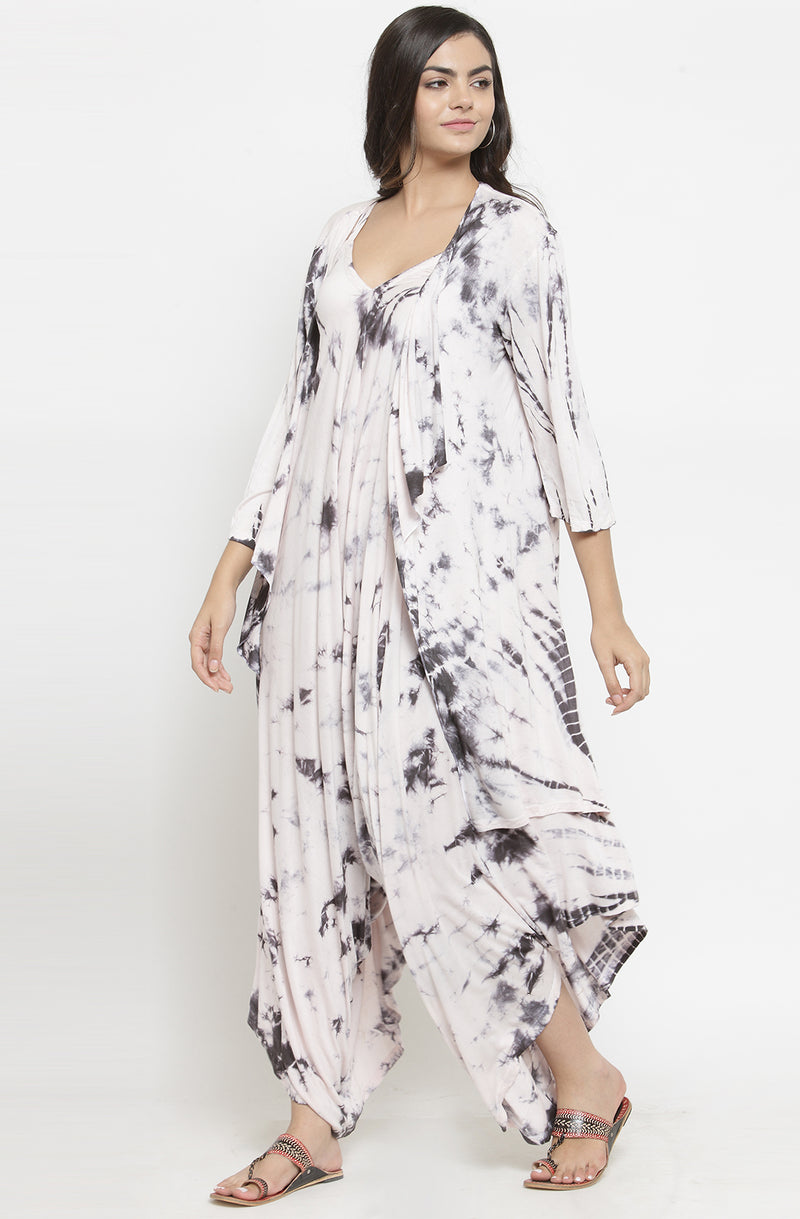 Black and White Tie & Dye Dhoti Cotton Dress with Shrug