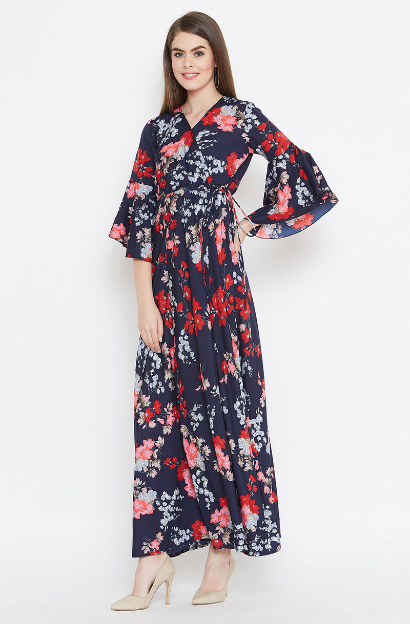 Floral Maxi Dress with Flared Sleeves