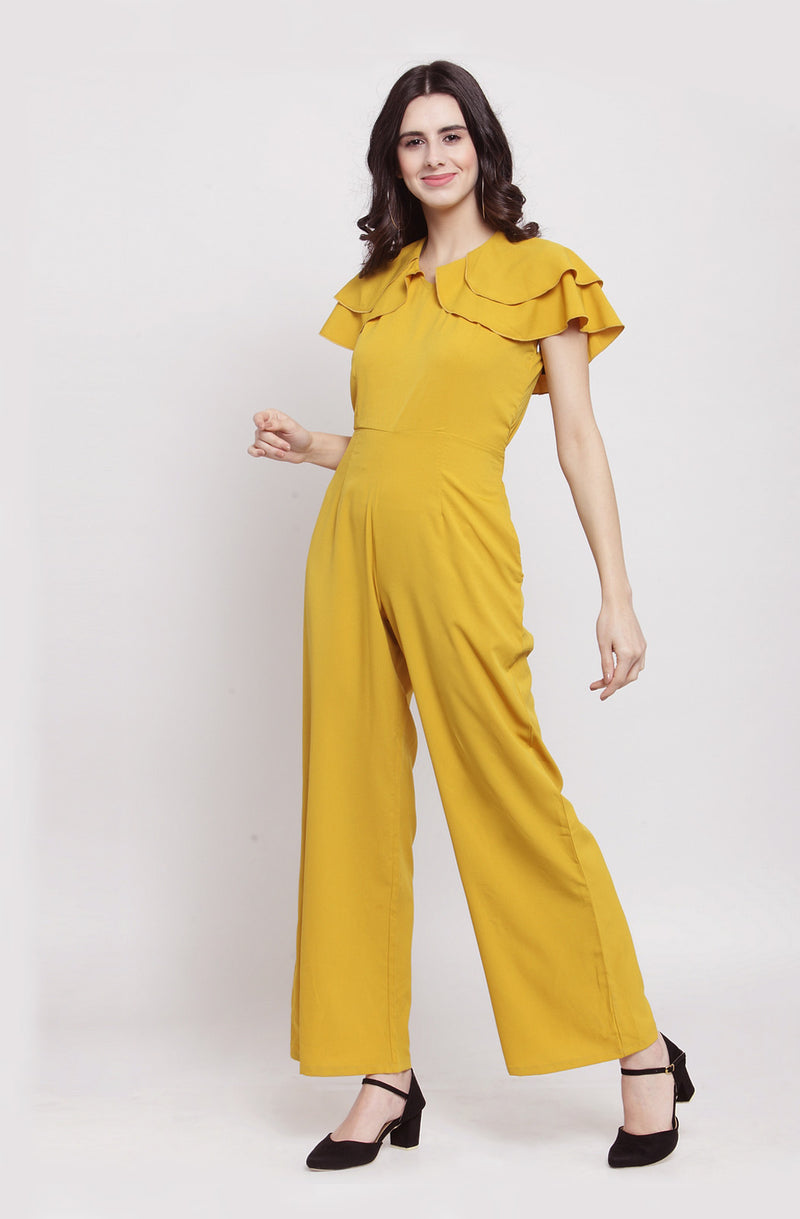 Yellow Casual Jumpsuit with Back Tie-Up by Afamado