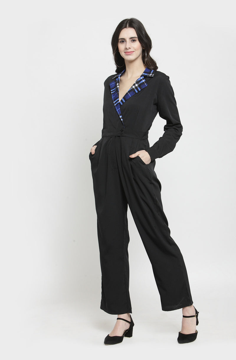 Gingham Collar Black Jumpsuit