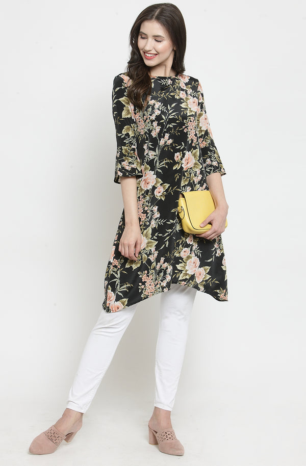 Hanky Hem Cotton Floral Tunic by Afamado