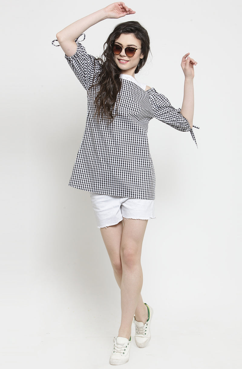 Gingham Print Tie Sleeve Top by Afamado