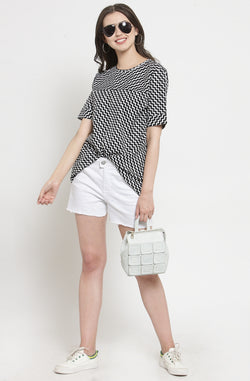 Monochrome Chevron Print Casual Top by Afamado