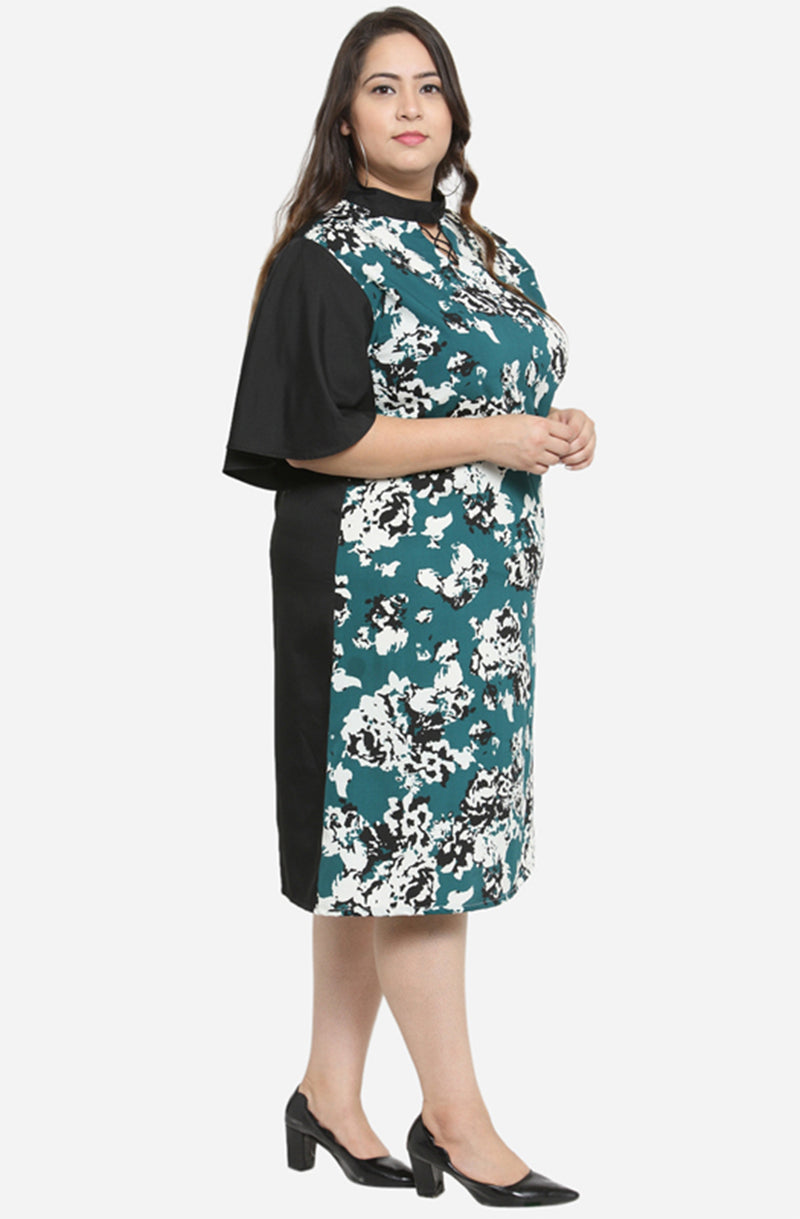 Mandarin Collar A-Line Dress with Flare Sleeves