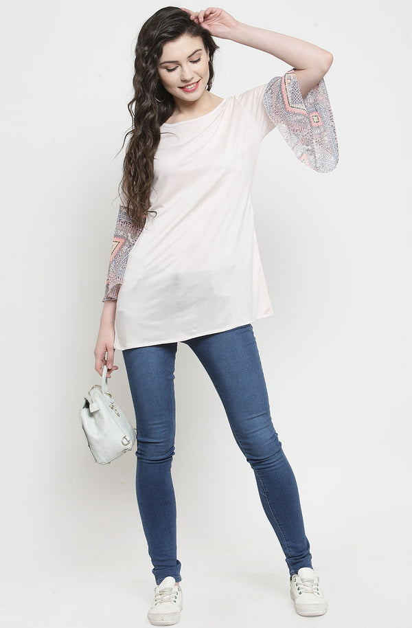 Contrast Flare Sleeve Casual Cotton Top by Afamado