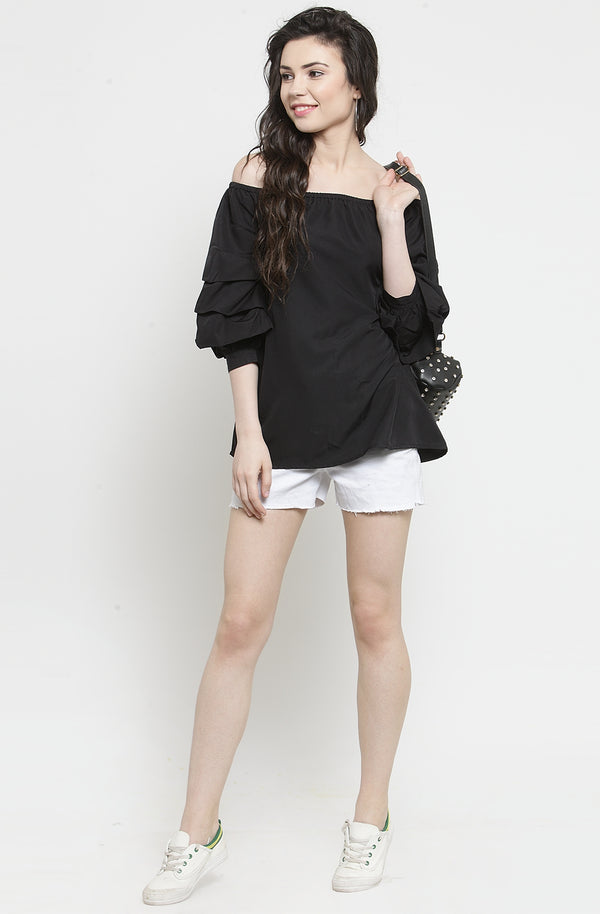Black Ruffled Top  by Afamado