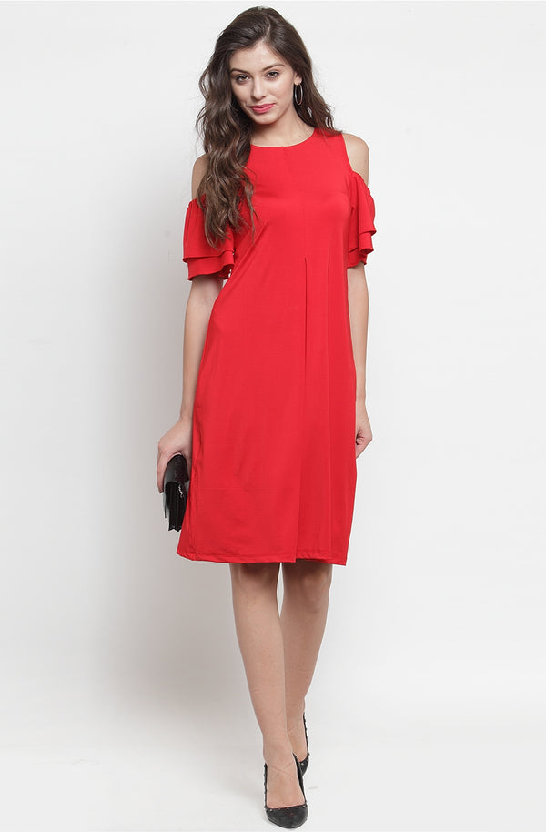 Layered Sleeve Cold-Shoulder Dress by Afamado