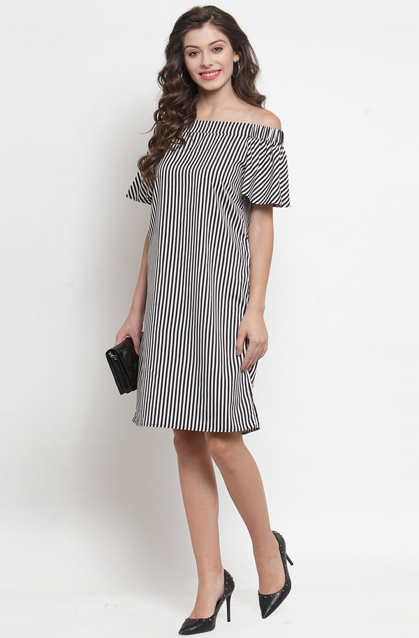 Striped Off-Shoulder Dress by Afamado