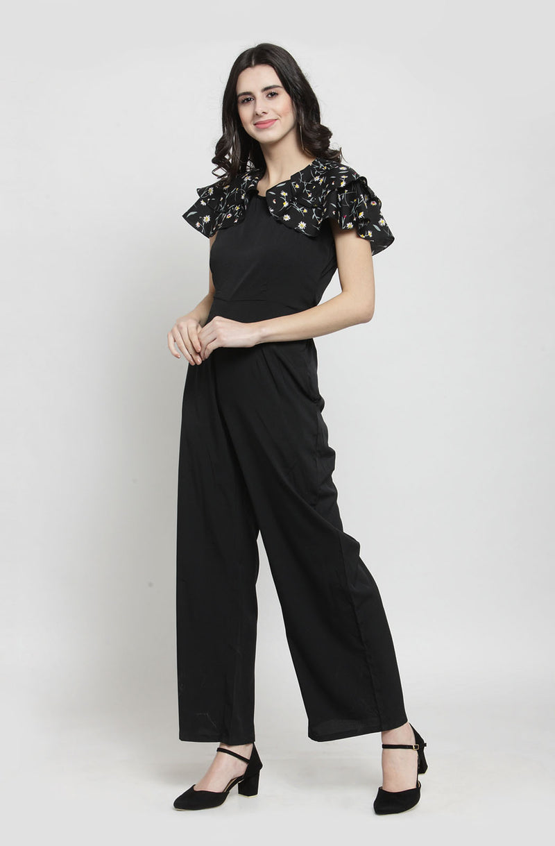 Contrast Tropical Print Black Jumpsuit