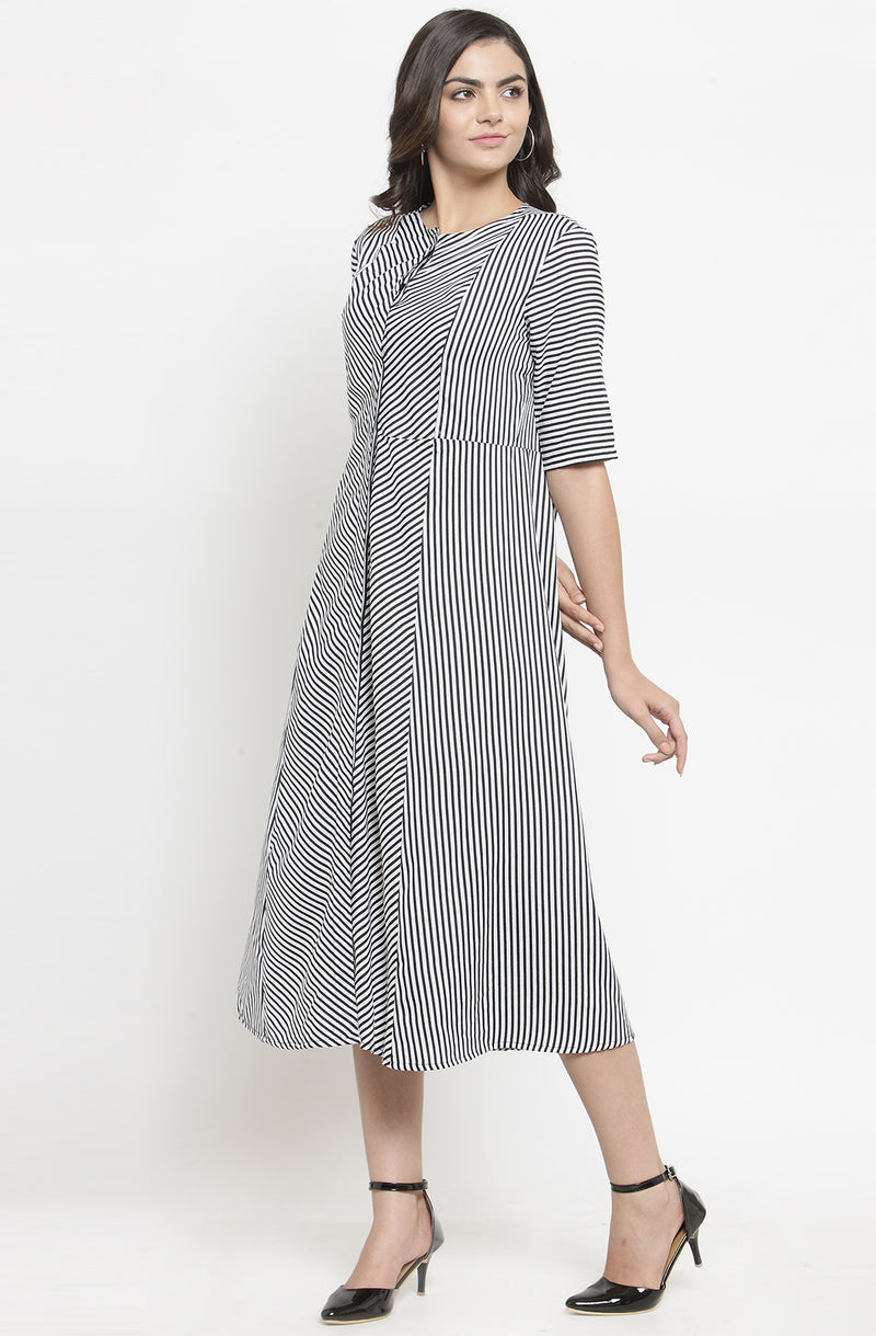 Formal Monochrome A-Line Midi Dress