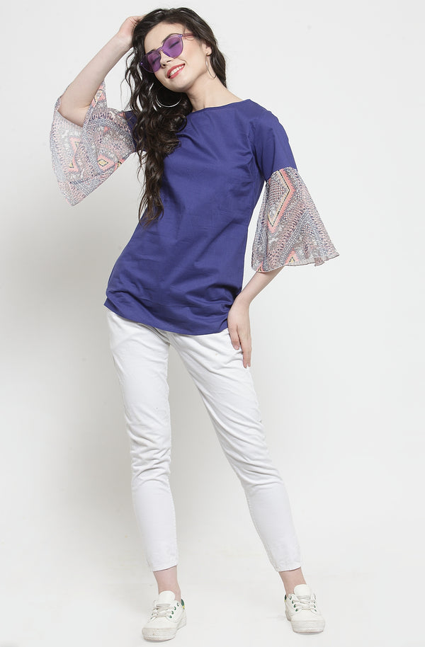 Women's Blue Semi-Casual Top by Afamado