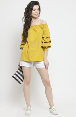 Ruffled Sleeve Off-Shoulder Top by Afamado