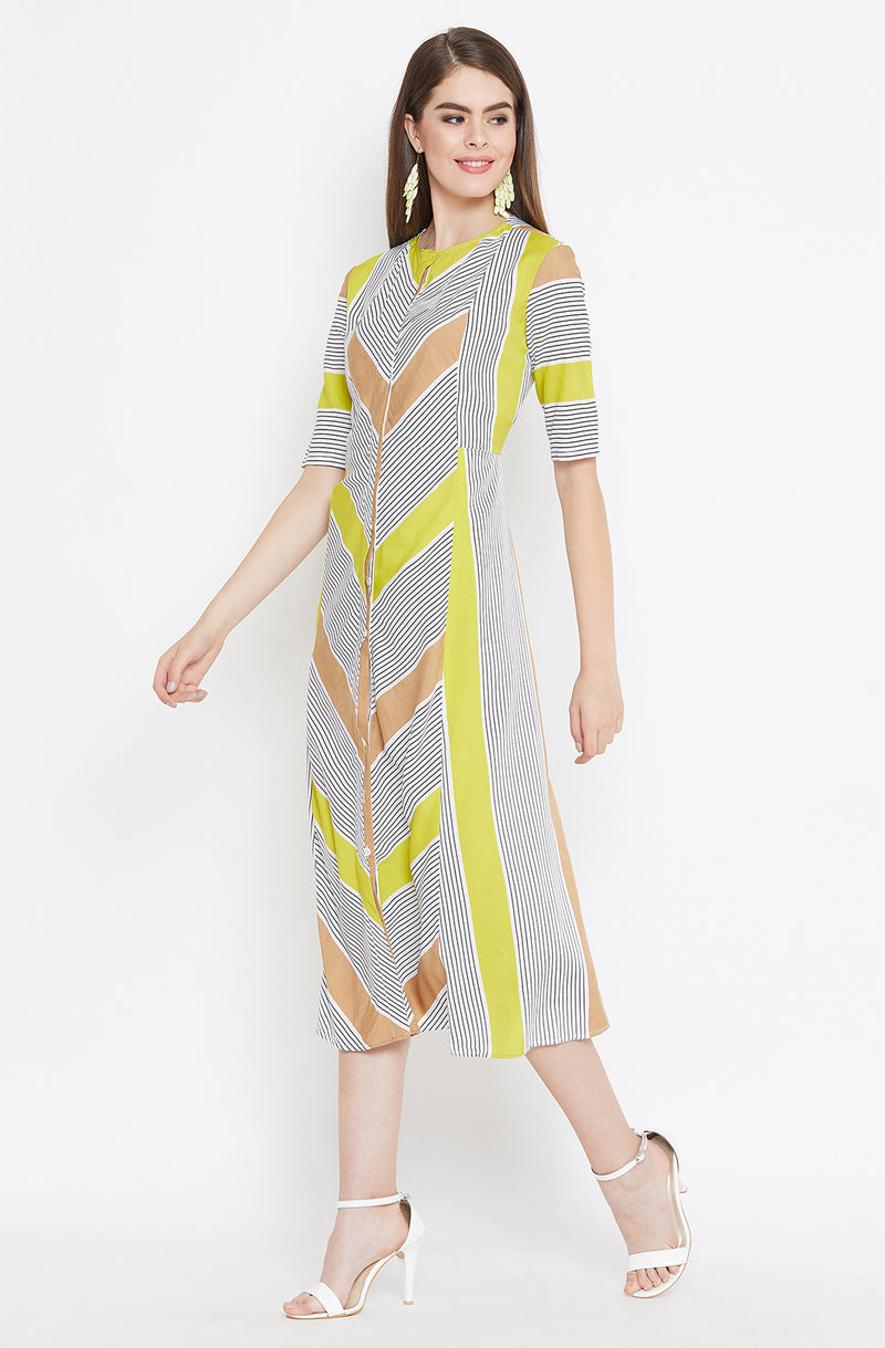 Casual Multi-Striped A-Line Dress by Afamado