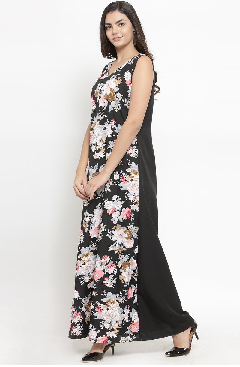 Formal Sleeveless Floral Maxi Dress