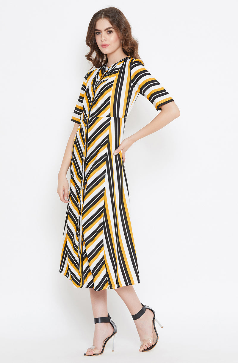 Yellow and Black Striped A-Line Dress