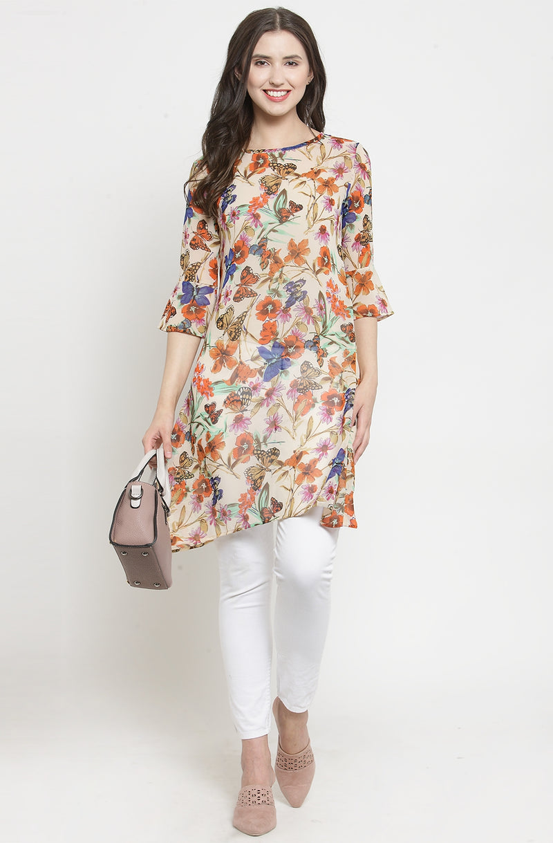Flower and Butterfly Print Tunic by Afamado