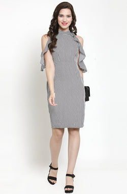 Ruffle Pin-Stripe Bodycon Dress by Afamado
