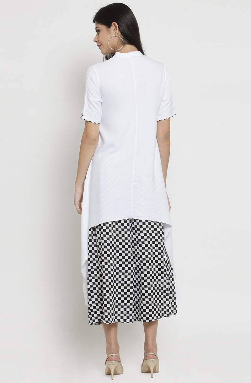 White Tunic with Culottes Set