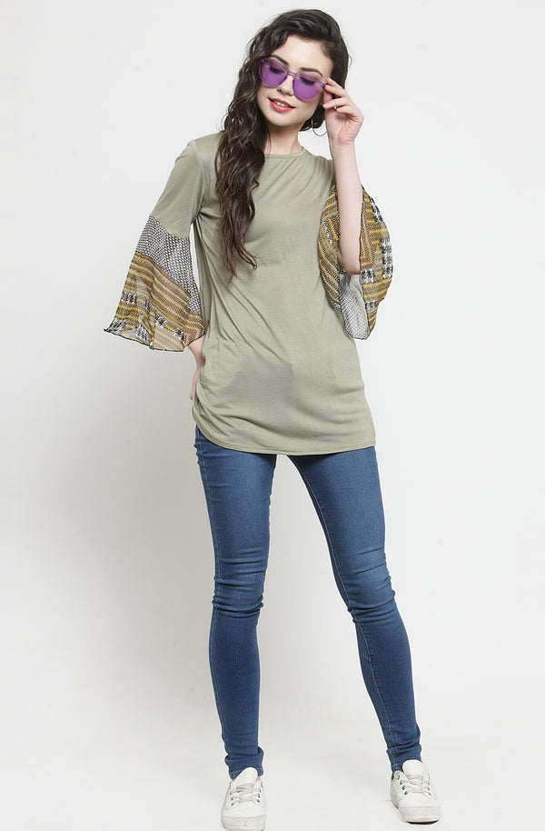 Olive Color Semi-Casual Top by Afamado