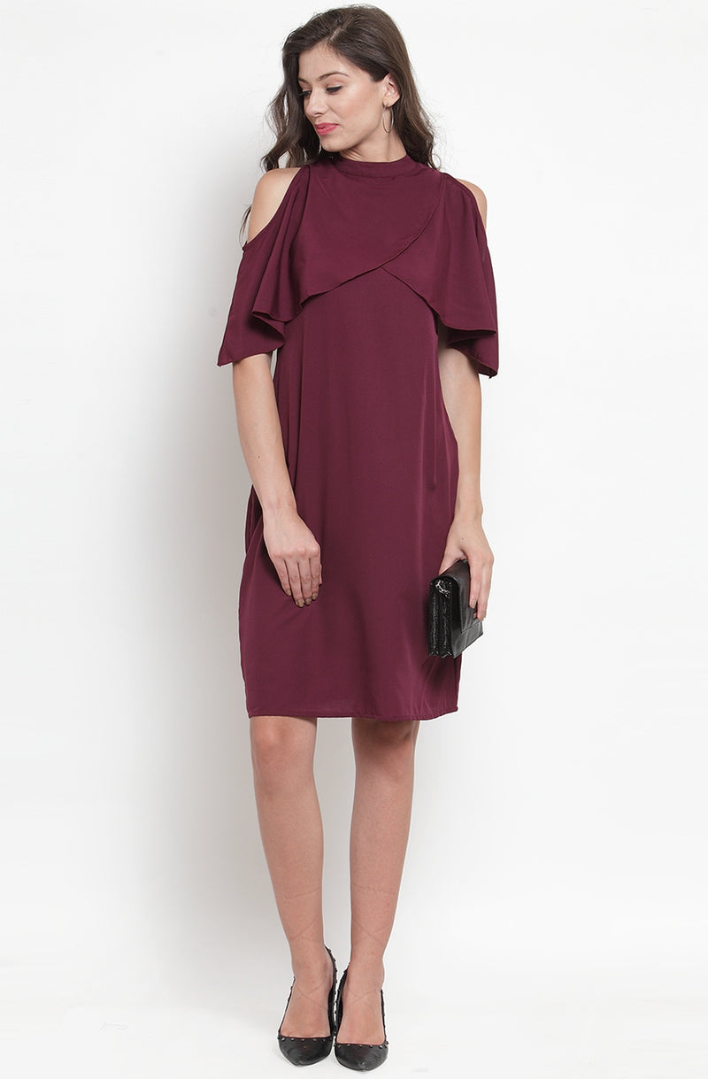 Wine Color Straight-Fit Party Dress by Afamado