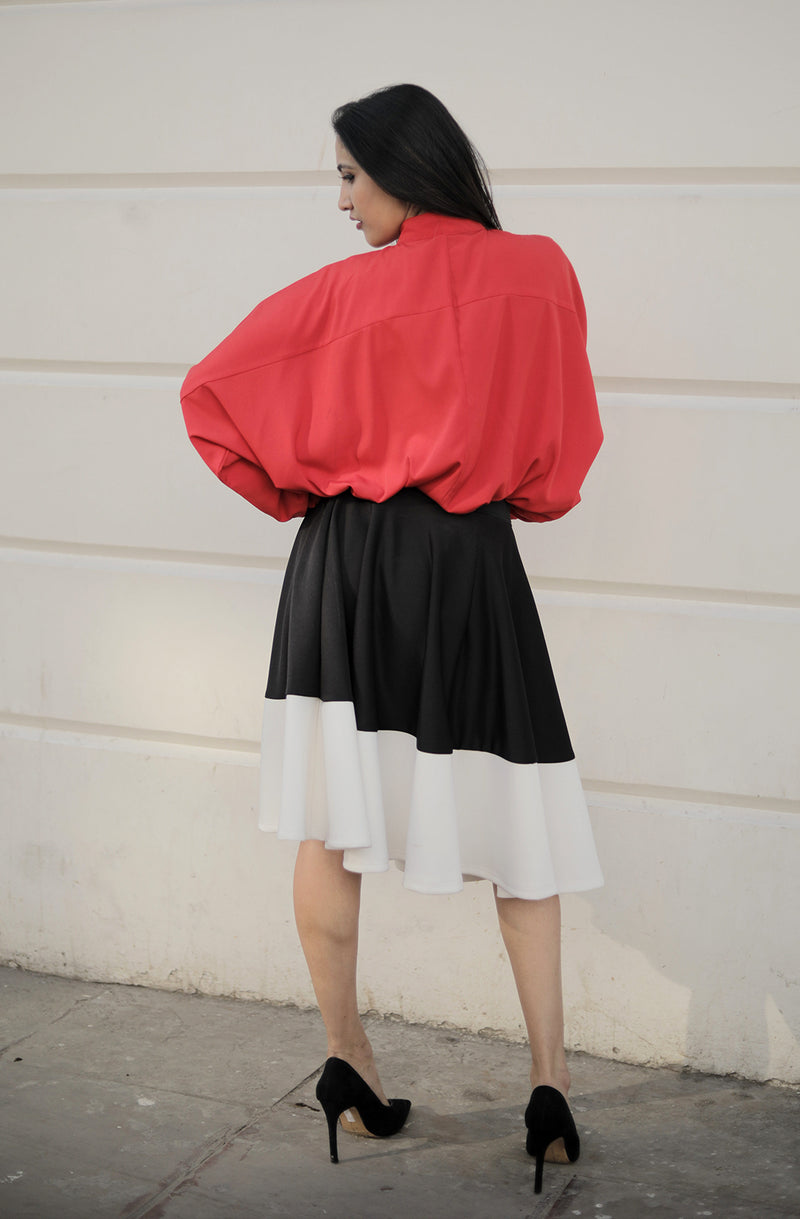 Self Design Flare Black & White Skirt