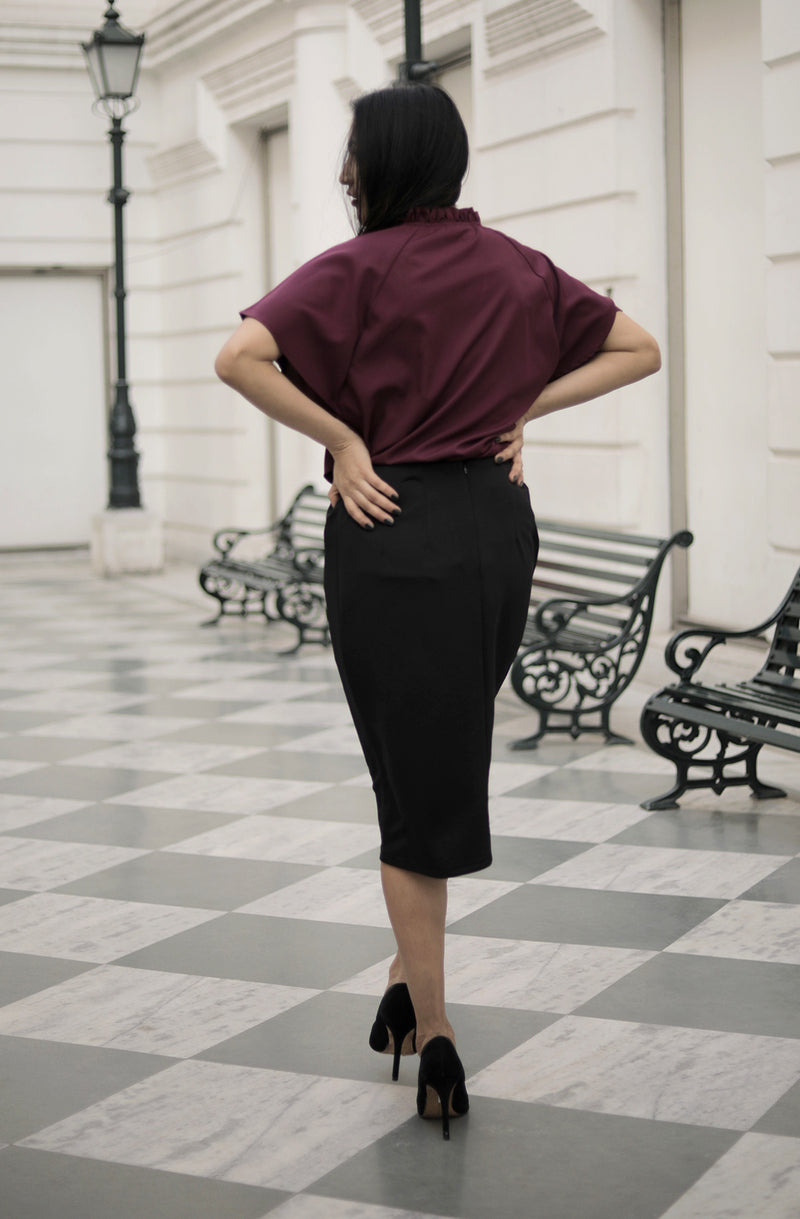 Self Design Straight Black Color Skirt