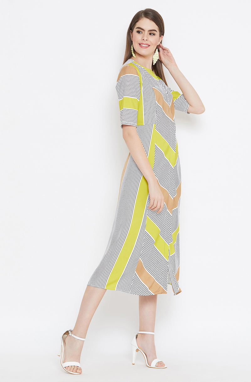 Casual Multi-Striped A-Line Dress