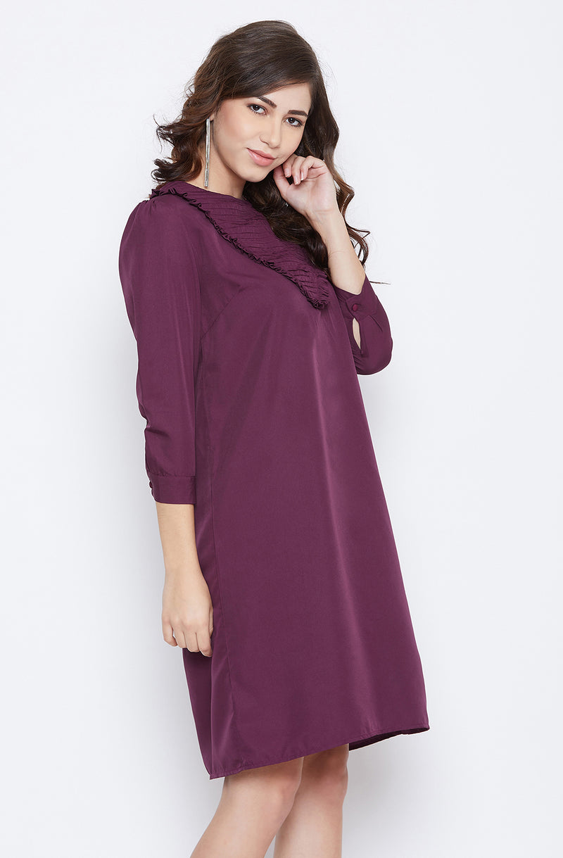 Wine Straight-Fit Frill Detailed Dress
