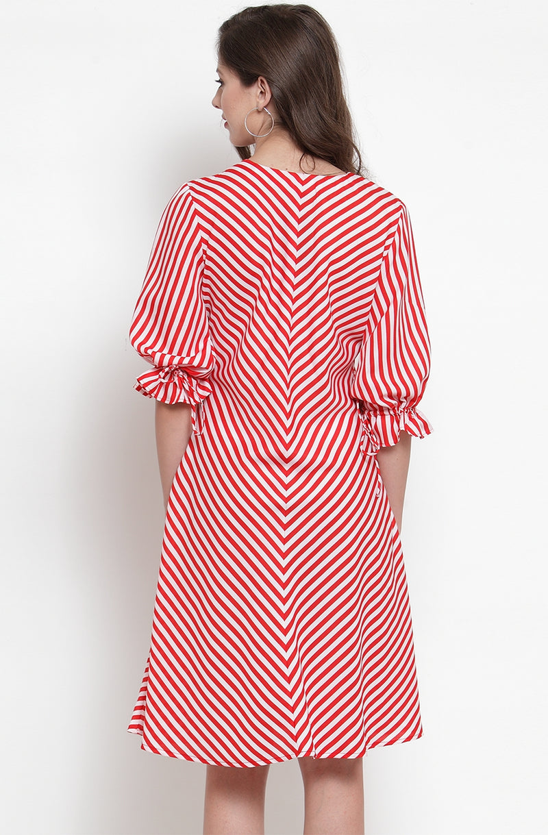 Scarlet Striped A-Line dress