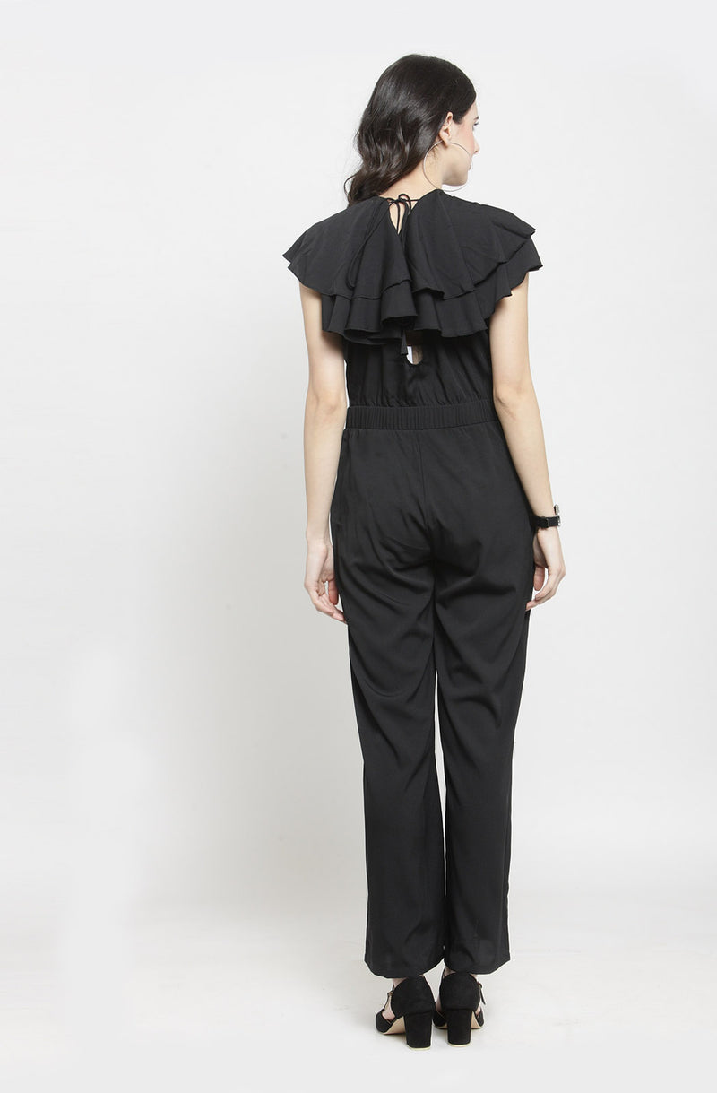 Layered Ruffle Cape Black Jumpsuit