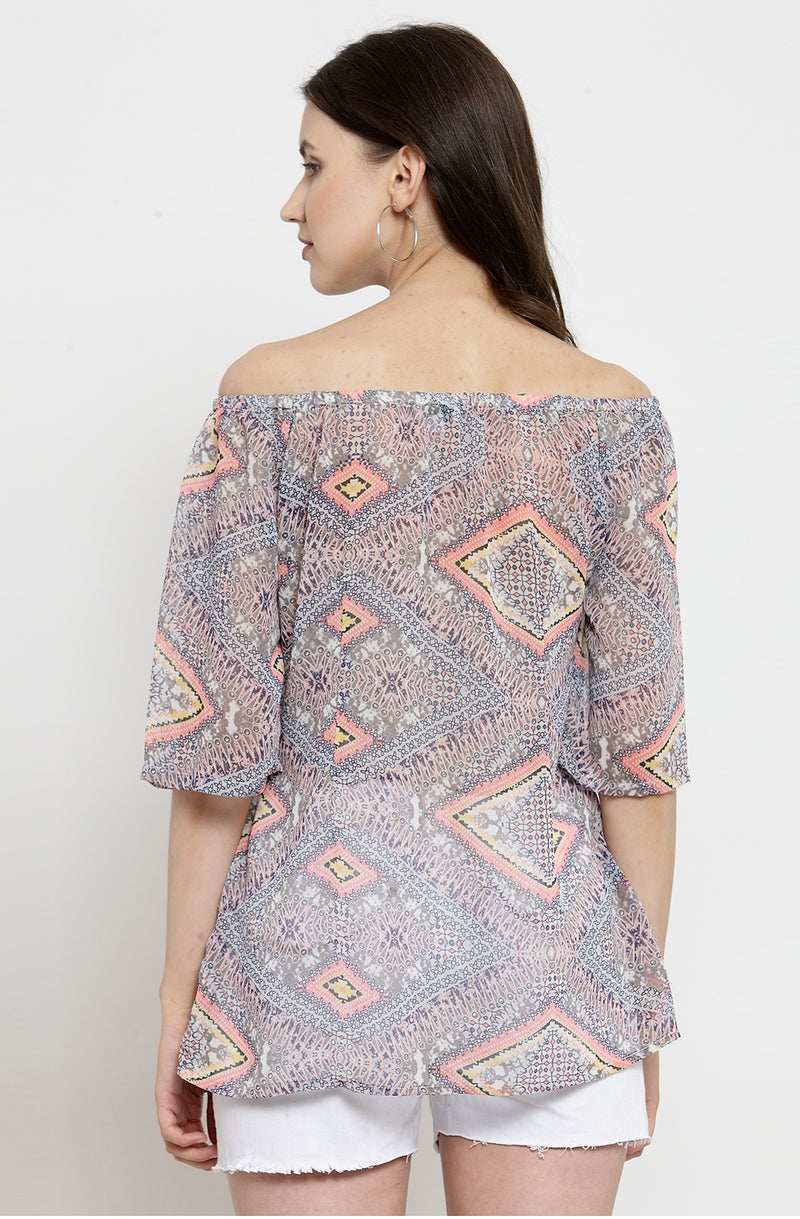 Tribal Print Off-the-Shoulder Top