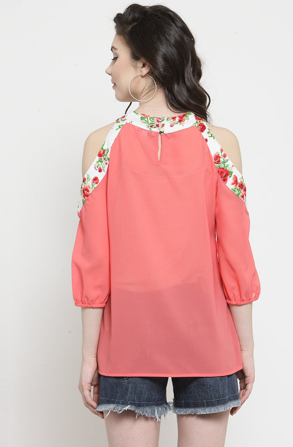 Georgette Cold-Shoulder Top