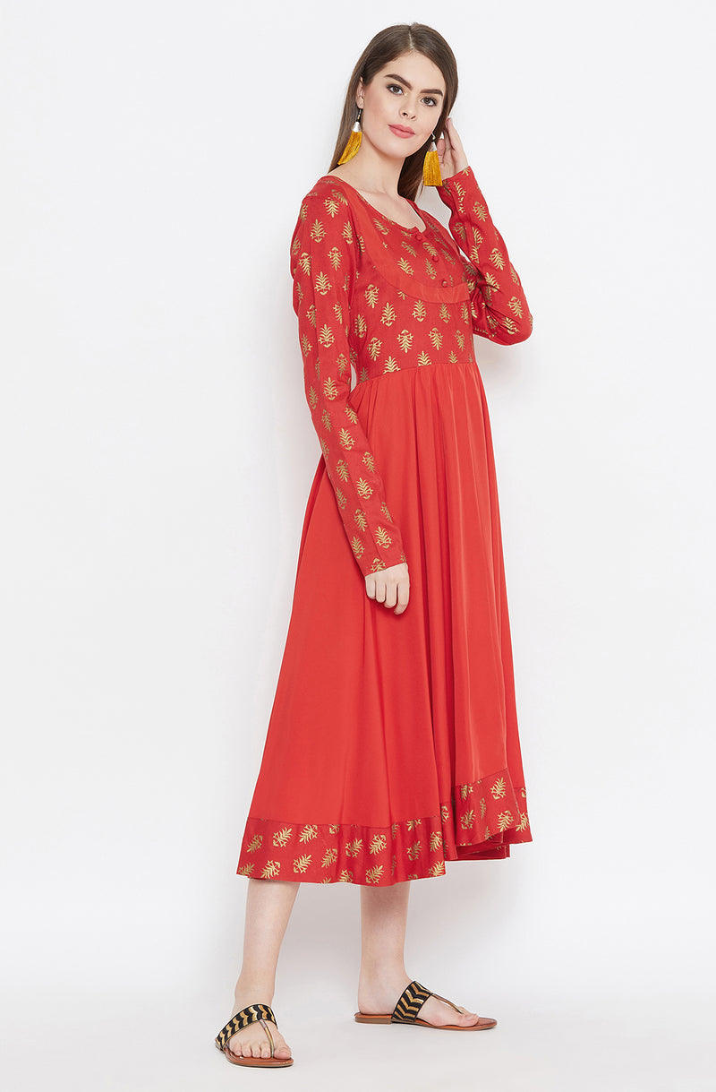 Motif Printed Anarkali Dress