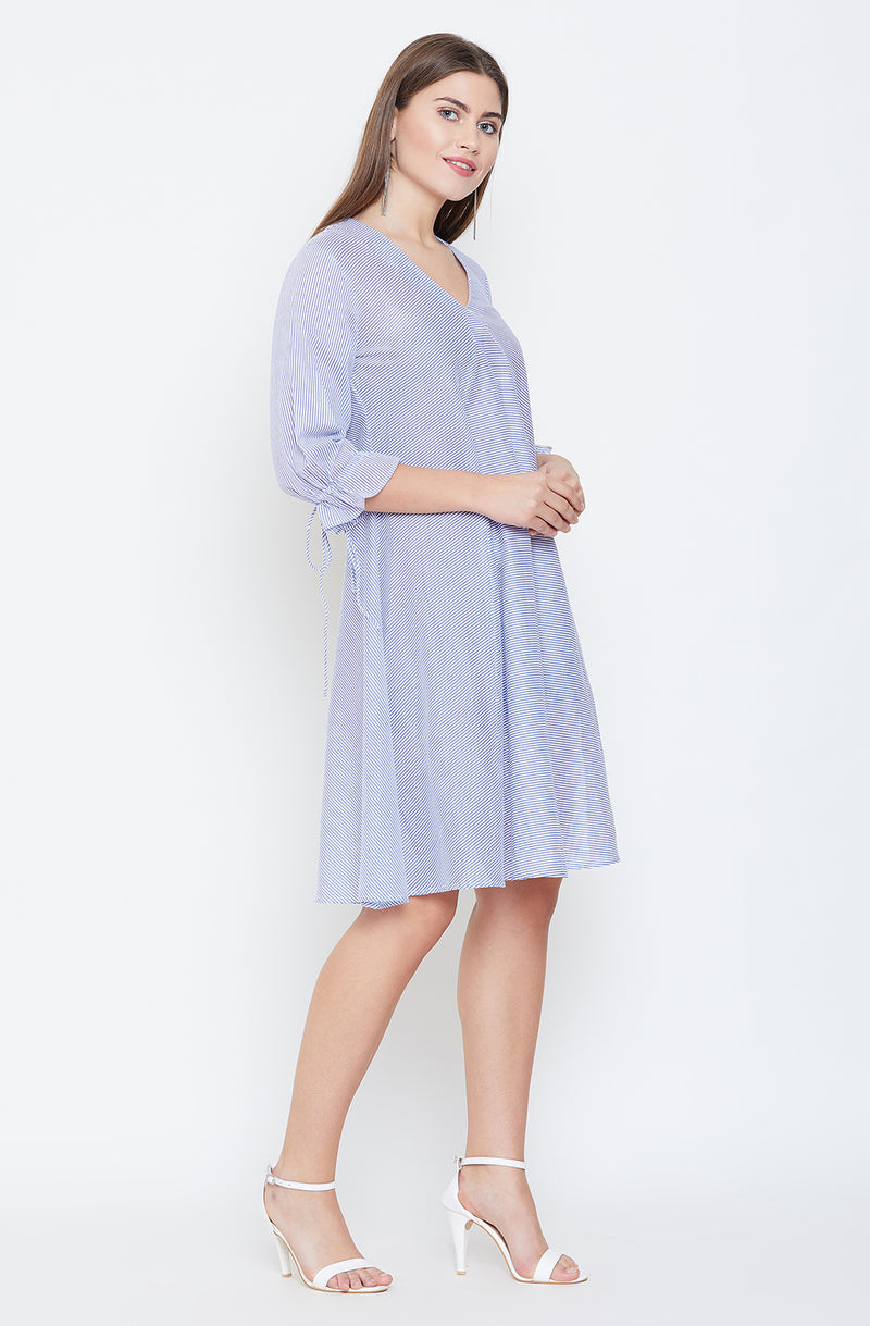 Blue A-Line Nautical Dress