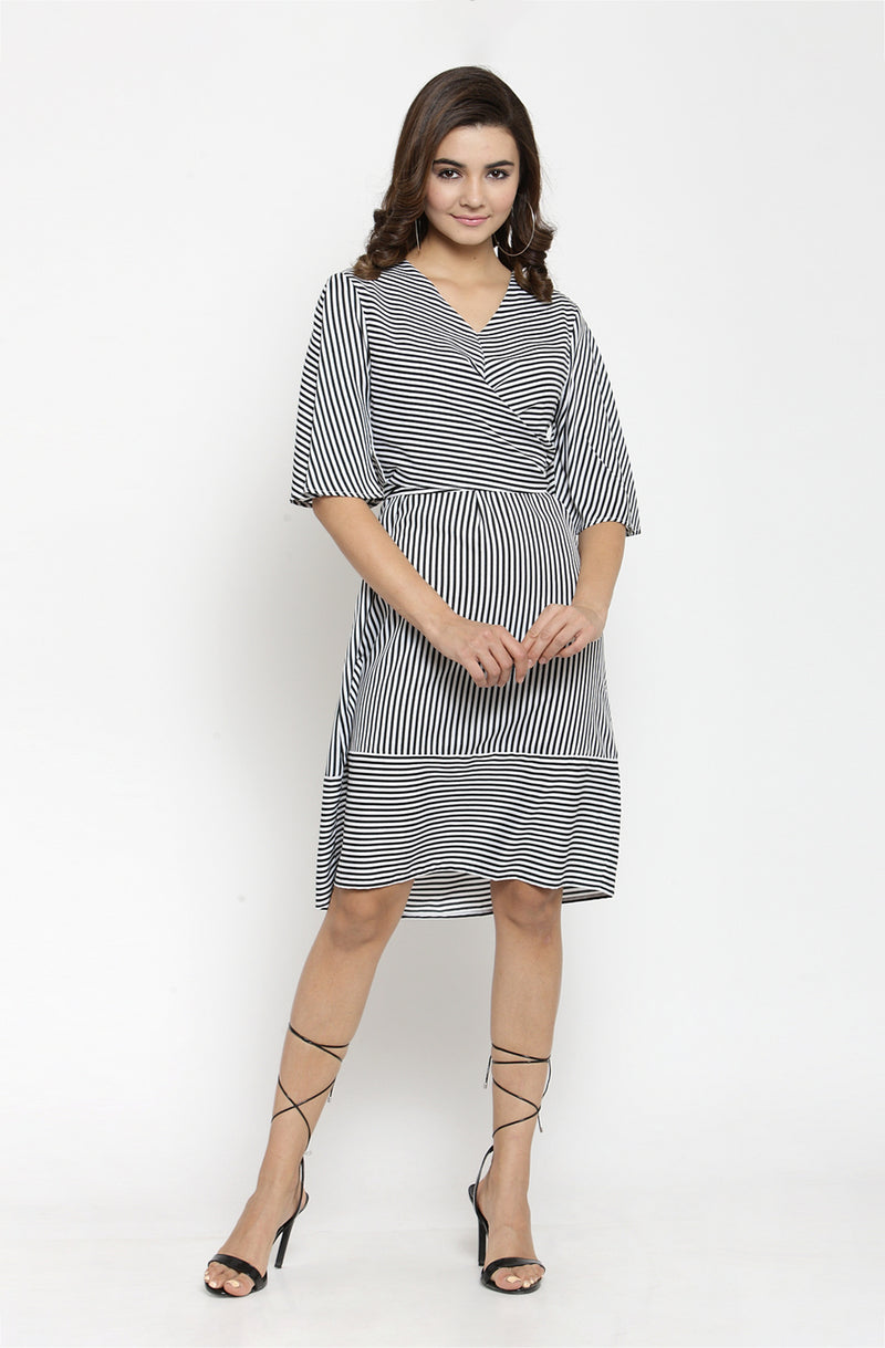 A Line Striped V Neck  Dress
