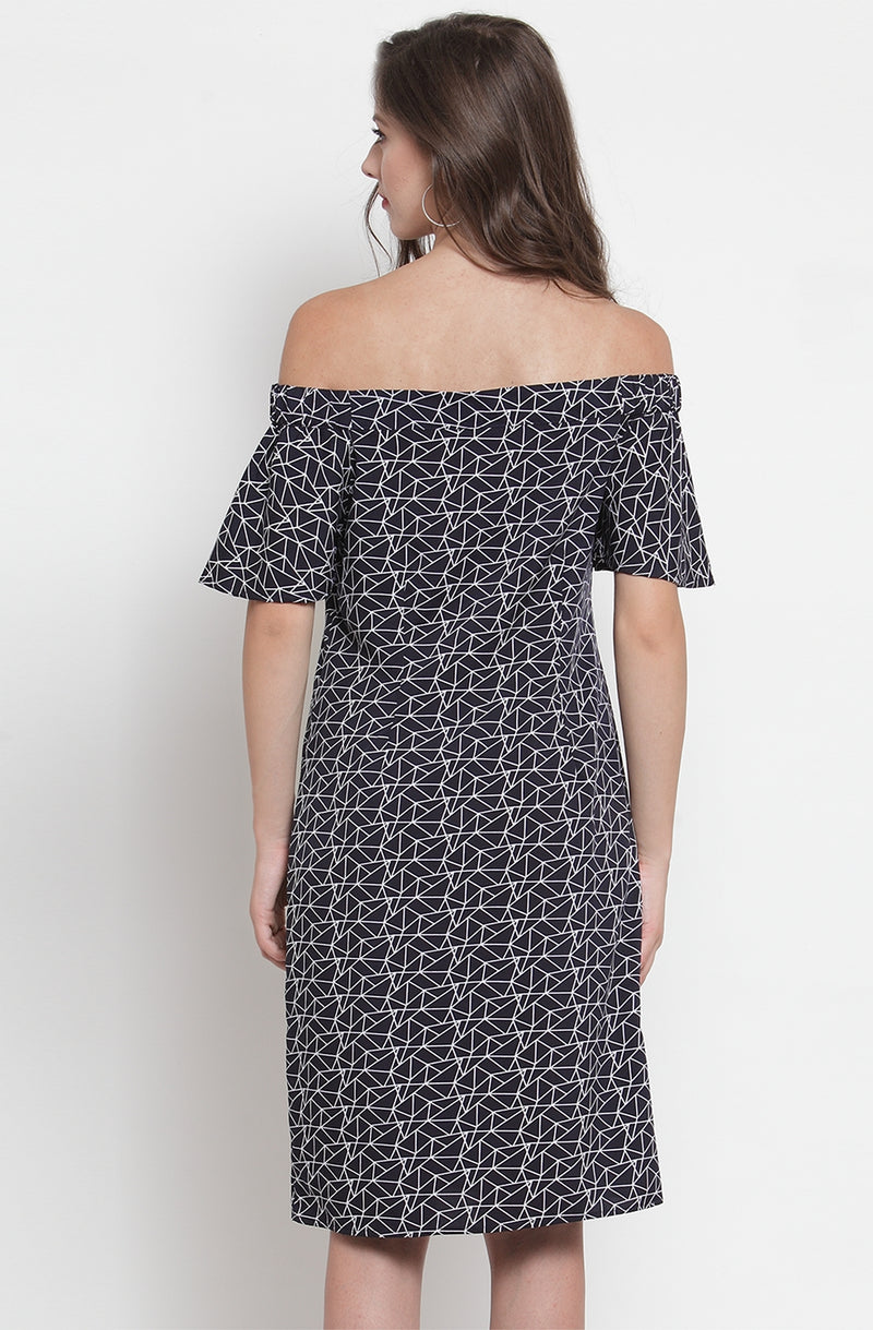 Printed Off-Shoulder A-Line Dress