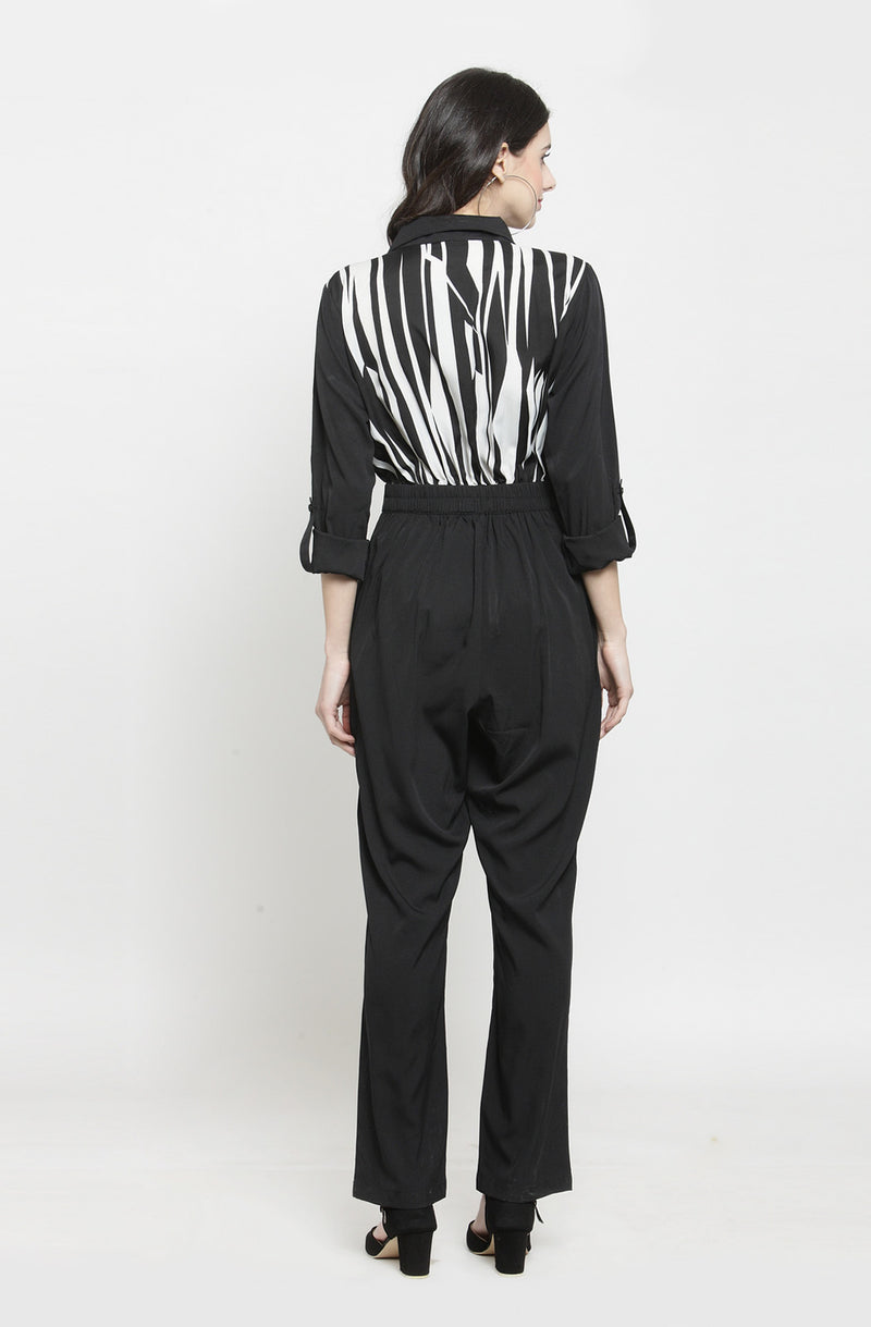 Monochrome Formal Double Collar Jumpsuit