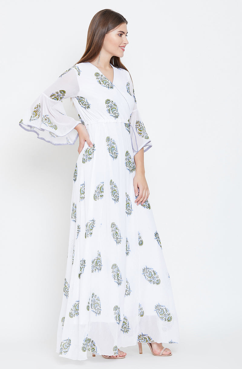Blue & Green Block Print Maxi dress