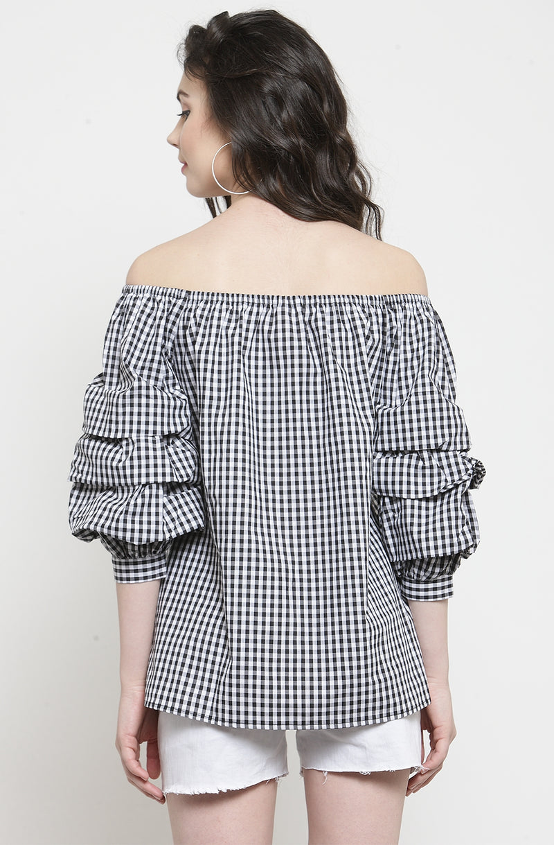 Gingham Print Off-Shoulder Top
