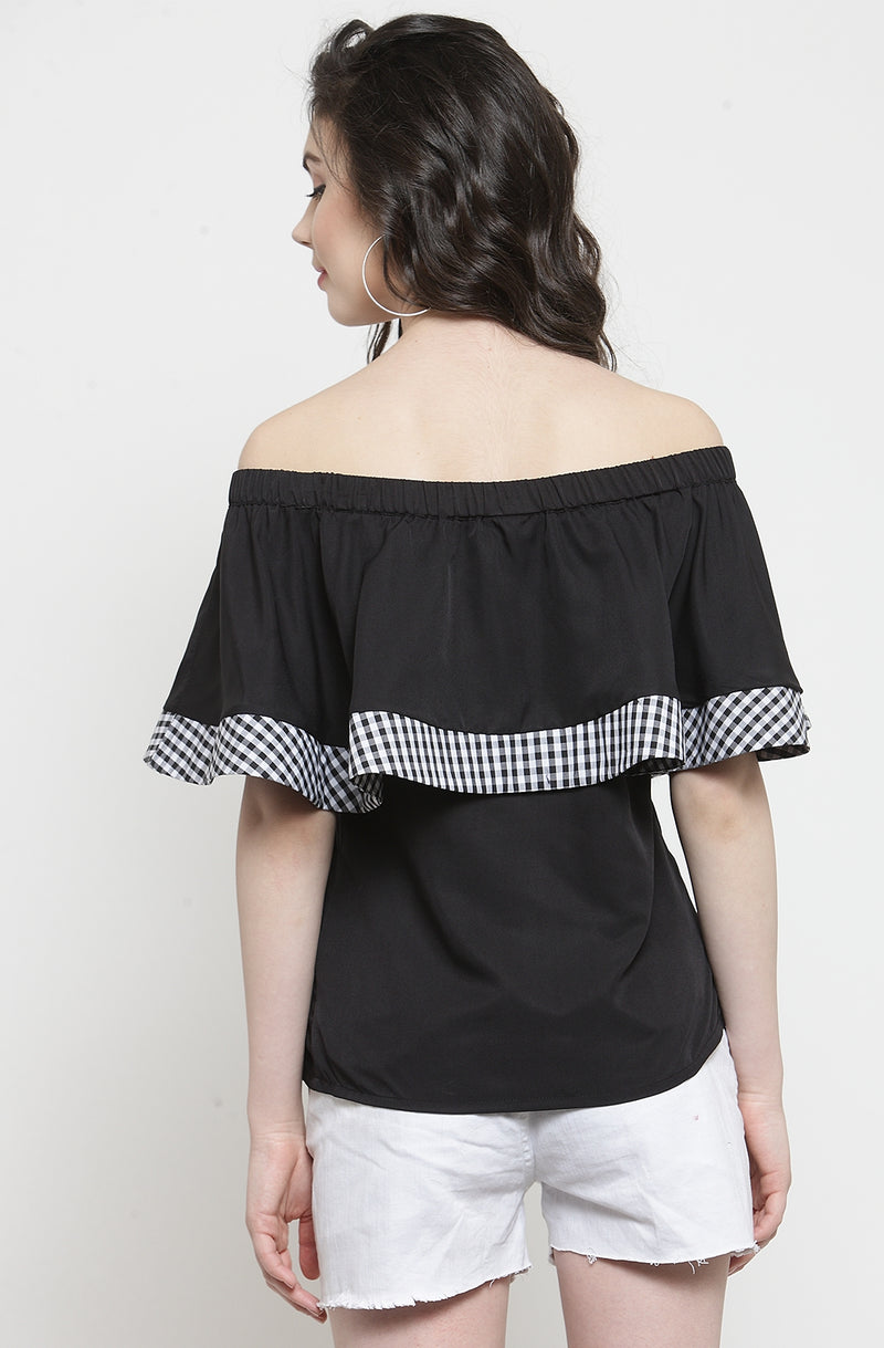 Contrast Ruffle Off-Shoulder Top