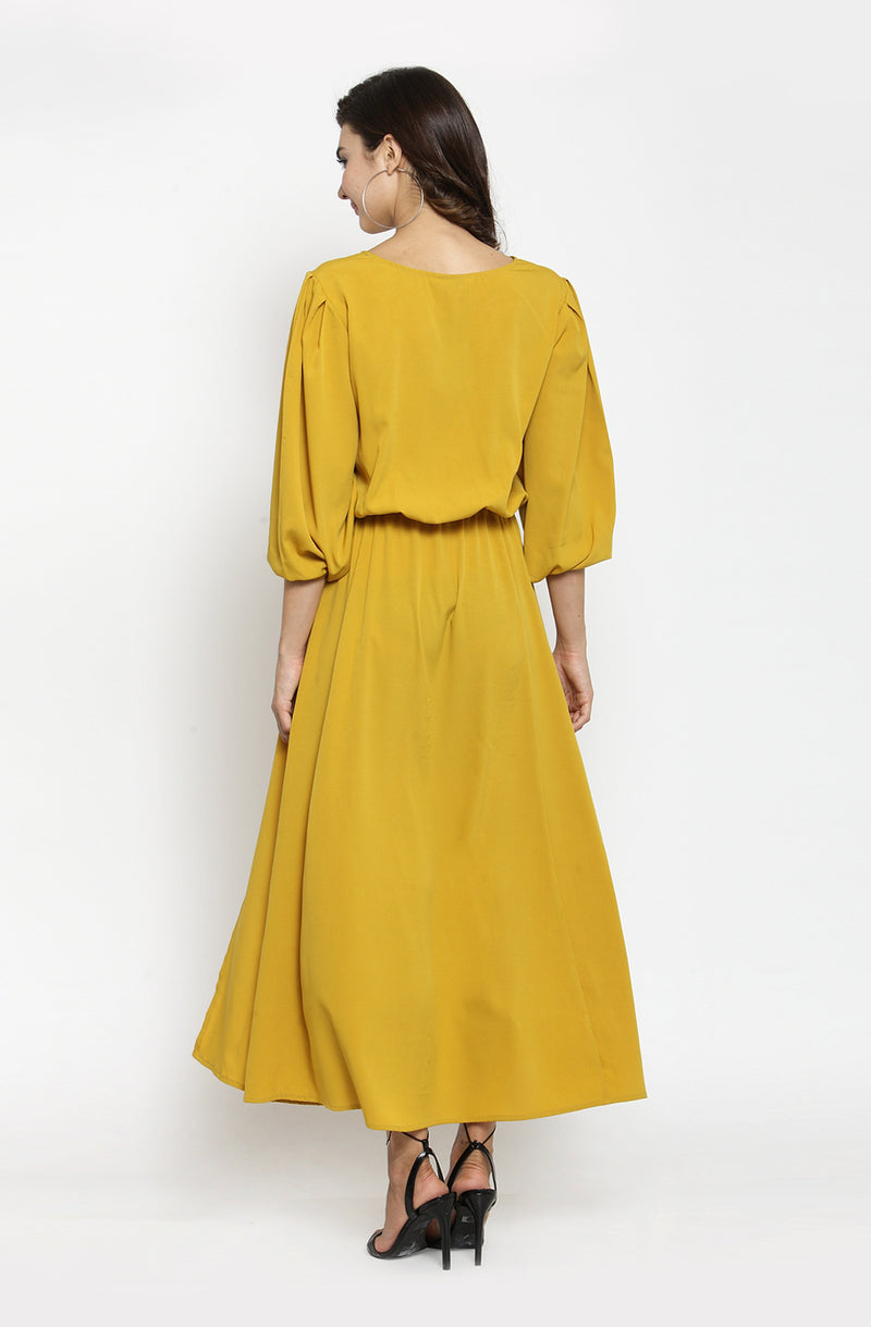 Boat Neck Mustard Color Maxi Dress