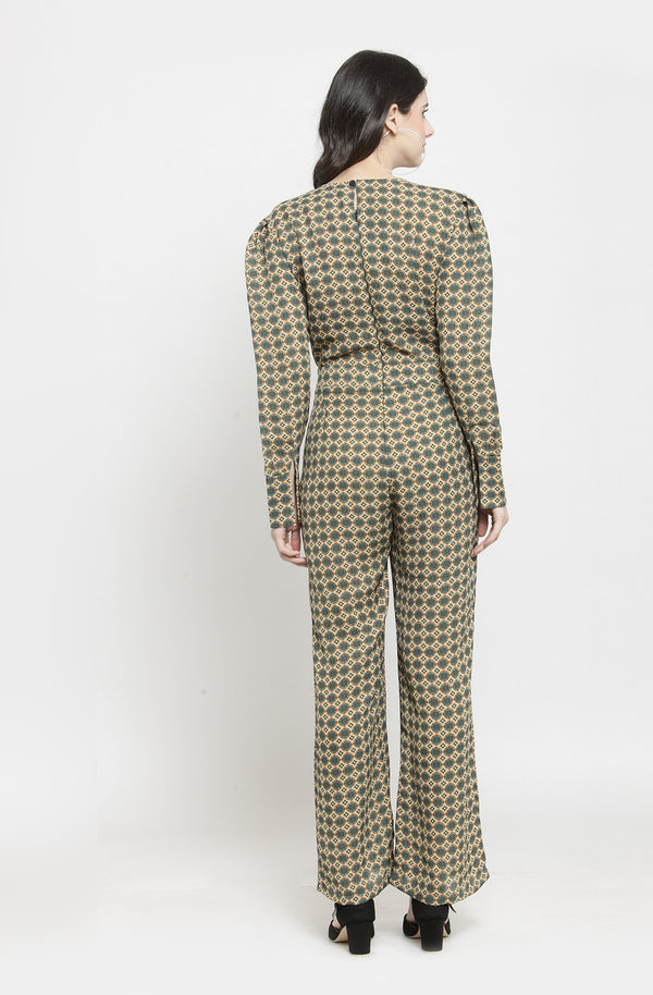 Geometric Print Long Sleeve Jumpsuit