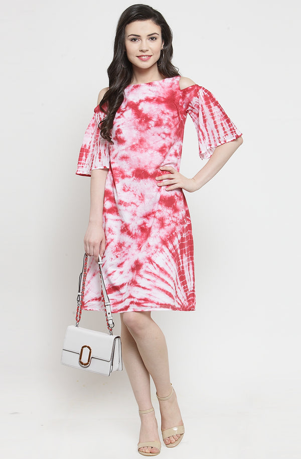 Red Tie-Dye Knee Length Dress by Afamado