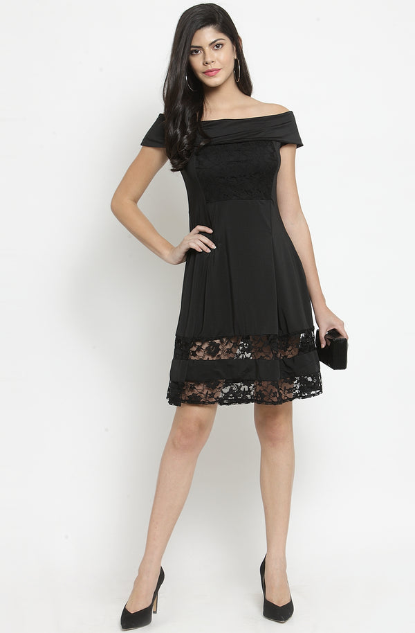 Off-Shoulder Dress with Lace Inserts by Afamado