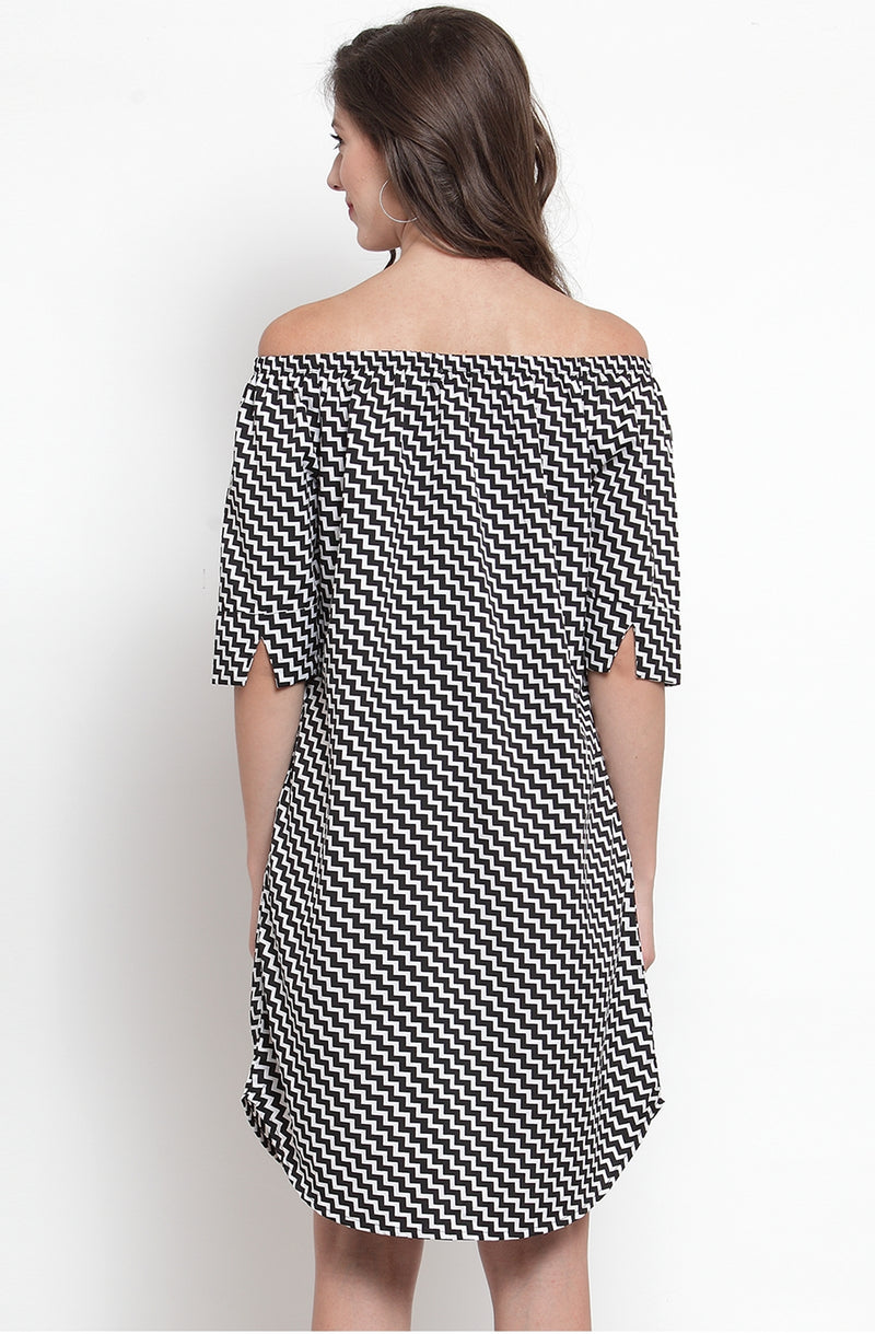 Chevron Print Off-Shoulder Dress